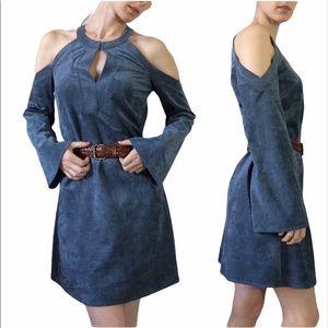 BCBG Laguna Soft Faux Suede Mini Boho Blue Dress